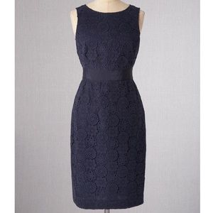 Boden Navy Blue Geometric Lace Sheath Dress
